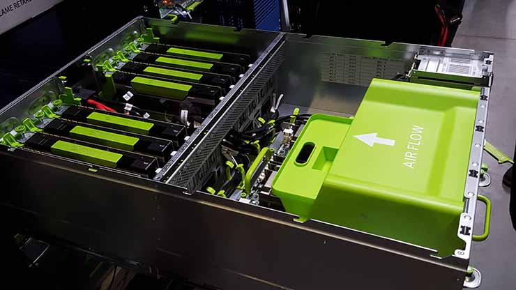 Facebook's Big Sur AI server is a 4U chassis packed with eight NVIDIA M40 GPUs (Photo: Rich Miller)