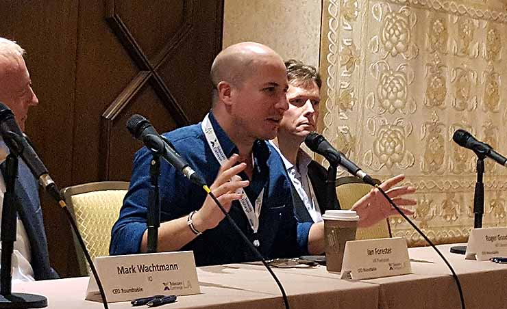 Ian Forester, the Chief Creative Office of VR Playhouse, discusses the growth of virtual reality at Telecom Exchange LA in Los Angeles. (Photo: Rich Miller)