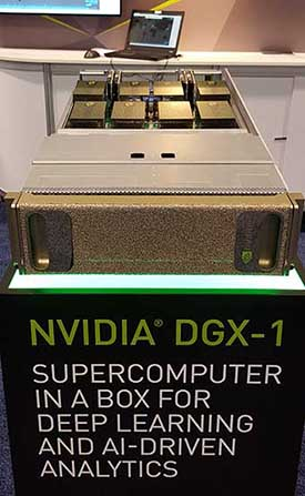 The NVIDIA DGX-1 on display at the Gartner Data Center conference in Las Vegas. (Photo: Rich Miller)