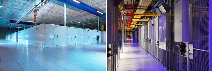 Different designs: Data center deployments inside data centers for IO/BASELAYER (left) and Equinix (right).