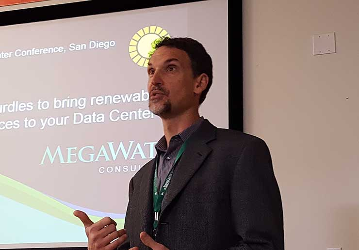 KC Mares of Megawatt Consulting speaks at the Green Data Center Conference in San Diego. (Photo: Rich Miller)