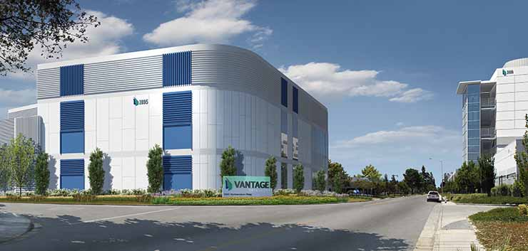 An illustration of what the Vantage V6 data center will look like upon completion. (Image: Vantage Data Centers)