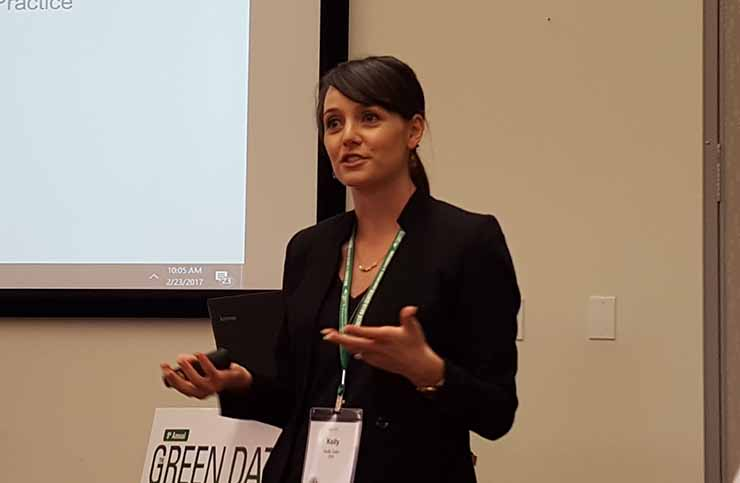 Kelly Gallo of BSR outlines the group's Corporate Colocation and Cloud Buyers' Principles at the Green Data Center Conference in San Diego. (Photo: Rich Miller)