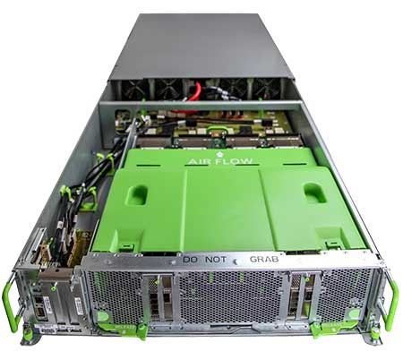 Big Basin features eight NVIDIA Tesla P100 GPU accelerators. It's the successor to Big Sur, which used an earlier verson of NVIDIA's GPU technology. (Photo: Facebook)