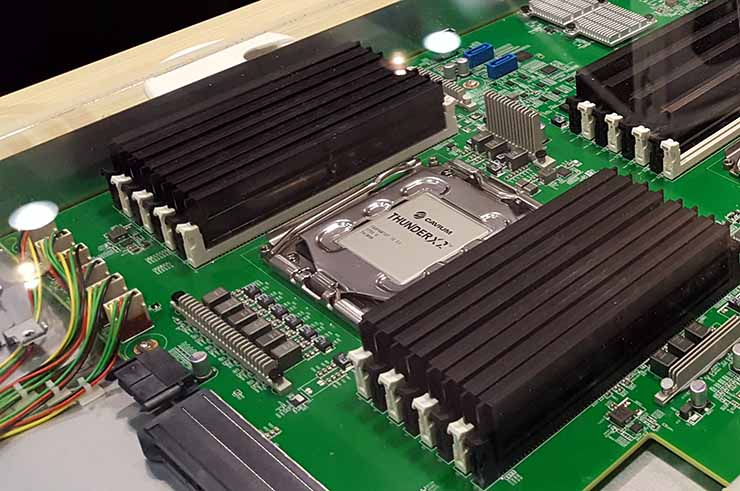 The Microsoft collaboration with Cavium runs on its flagship 2nd generation 64-bit ThunderX2 ARMv8-A server processor SoCs. Here's a look at a prototype at the Microsoft booth at the Open Compute Summit. (Photo: Rich Miller)