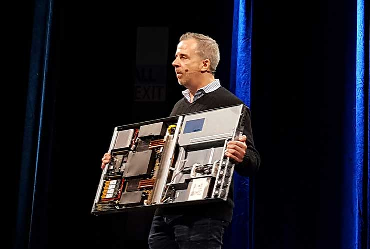 Intel's Jason Waxman shows off a server using Intel's FPGA accelerators with Microsoft's Project Olympus server design during his presentation at the Open Compute Summit. (Photo: Rich Miller)