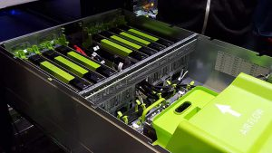 A row of eight NVIDIA graphics processing units (GPUs) packed into a Big Sur machine learning server at Facebook's data center in Prineville, Oregon. (Photo: Rich Miller)
