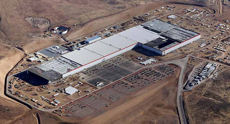 The Tesla Gigafactory at the Tahoe Reno Industrial Park. The 1.9 million square foot facility commenced battery production in January. (Image: Tesla)