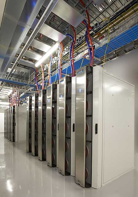A row of cabinets using the ColdLogik rear door heat exchanger that Nautilus Data technologies will use on its barge-based floating data center. (Image: Nautilus Data)