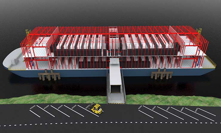 An illustration of the two-deck configuration of the Nautilus Data Technologies design, which places modular data centers on a floating barge. (Image: Nautilus)