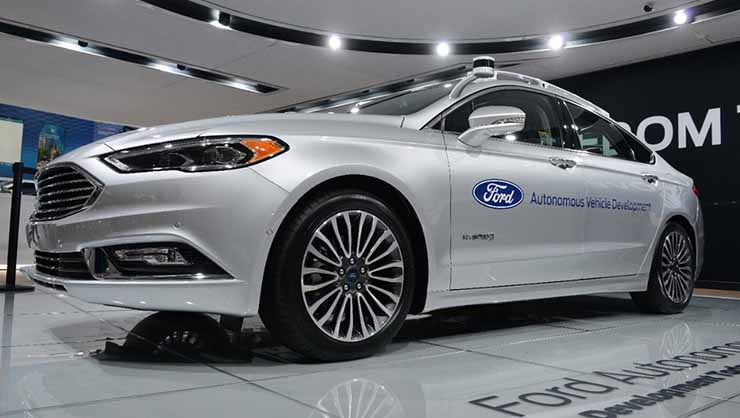 An autonomous Ford Fusion, with sensors and cameras mounted. The head of Ford Smart Mobility, Jim Hackett, has just been named CEO. (Photo: Ford)