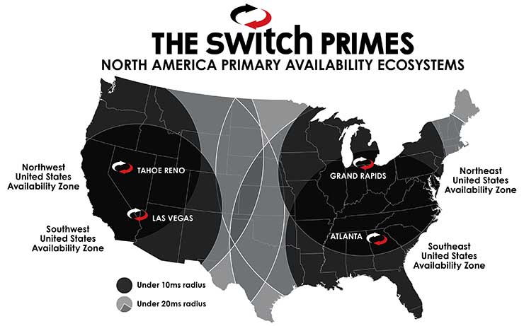 A map of the Switch U.S. data center footprint. (Source: Switch)