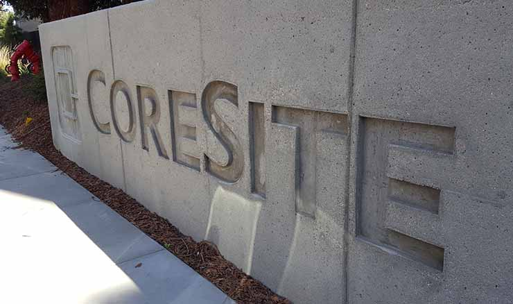 The CoreSite logo at the company campus in Santa Clara. (Photo: Rich Miller)