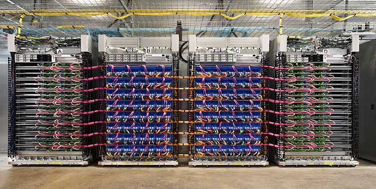 """A Google """"TPU pod"""" built with 64 second-generation TPUs delivers up to 11.5 petaflops of machine learning acceleration. (Photo: Google)"""