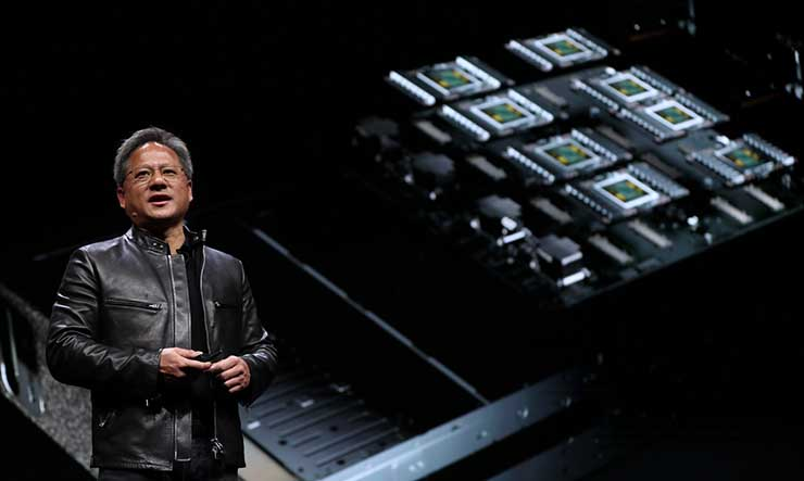 NVIDIA founder and CEO Jensen Huang introduces the company's new Volta GPU architecture at the GPU Technology Conference in Las Vegas. (Photo: NVIDIA Corp.)