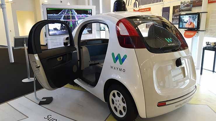A Waymo concept autonomous vehicle on display at the Computer History Museum in Mountain View, Calif. This model has no steering wheel. (Photo; Rich Miller)
