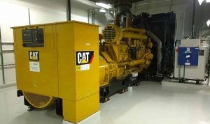 A Caterpillar diesel backup generator at the DuPont Fabros ACC7 data center in Ashburn. (Photo: Rich Miller)