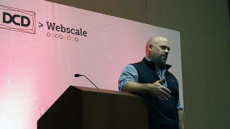 George Slessman, the CEO of IO, speaks at the DCD Webscale conference in San Francisco last week. (Photo: Rich Miller)