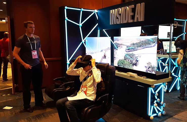 The convergence between AI and virtual reality experiences was showcased at the Intel booth at the O'Reilly Artificial Intelligence conference. (Photo: Rich Miller)
