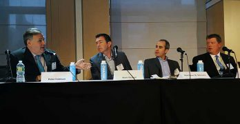 A panel of New York area executives at the recent CapRate Data Center Summit sre, from left: Peter Feldman (DataGryd), Matt Gleason (CoreSite), Matthew Monaco (Equinix) and Scott Palsgrove of Cologix. (Photo: Rich Miller)