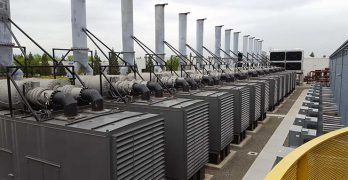 A row of emergency backup generators at the RagingWire CA3 data center in Sacramento, Calif. (Photo: Rich Miller)