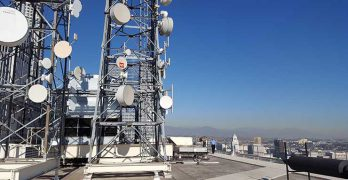 The rooftop of the One Wilshire carrier hotel in Los Angeles illustrates how wireless infrastructure can boost data center properties. The emergence of 5G wireless may create more examples. (Photo: Rich Miller)