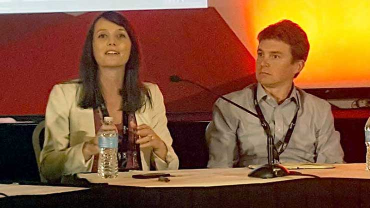 Kello Gallor of BSR (left) and Patrick Flynn from Salesforce participate in a panel at DCD Energy Smart in San Francisco. (Photo; Rich Miller)