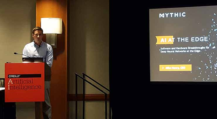 Mythic CEO Mike Henry discusses the company's hardware during a presentation at the O'Reilly AI conference in New York. (Photo: Rich Miller)