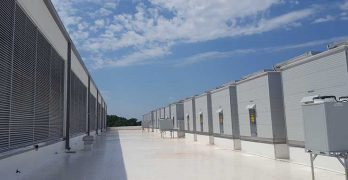 A view of the roof of the new CloudHQ data center in Manassas, Virginia shows some of the 152 Kyoto Cooling units supporting the facility. (Photo: Rich Miller)