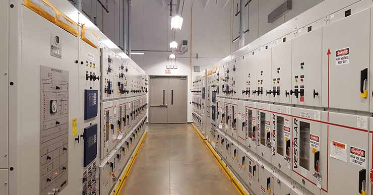 One of the power rooms at CloudHQ's new Manassas data center. The equipment includes features to protect workers from arc flash incidents, including hardened exterior and an interior design that channels energy upward, rather than outward. (Photo: Rich Miller)