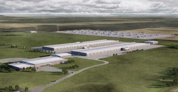 An illustration of Apple's planned $1.3 billion data center campus in Waukee, Iowa. (Image: Apple)
