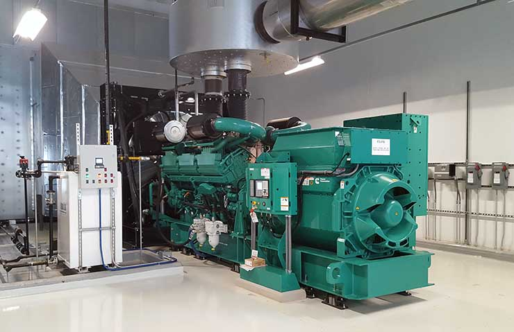One of the 28 Cummins 2750kV backup generators at the CloudHQ Manassas Corporate Center 1 data center. (Photo: RIch Miller)