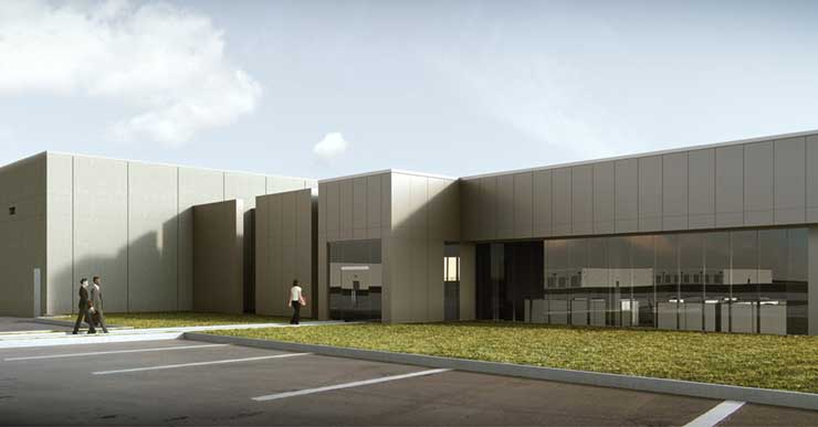 An illustration of the front entrance of Apple's planned data center in Waukee, Iowa. (Image: Apple)