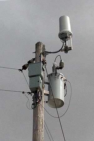 Wireless antennas atop a utility pole. (Image: Tilson Construction)