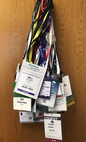 Bill has been to a lot of conferences, and has the lanyards and badges to show for it. (Photo: Bill Kleyman)