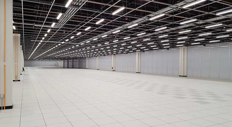This is one half of the 60,000 square foot data hall inside the CyrusOne Sterling V data center in Northern Virginia. (Photo: Rich Miller)