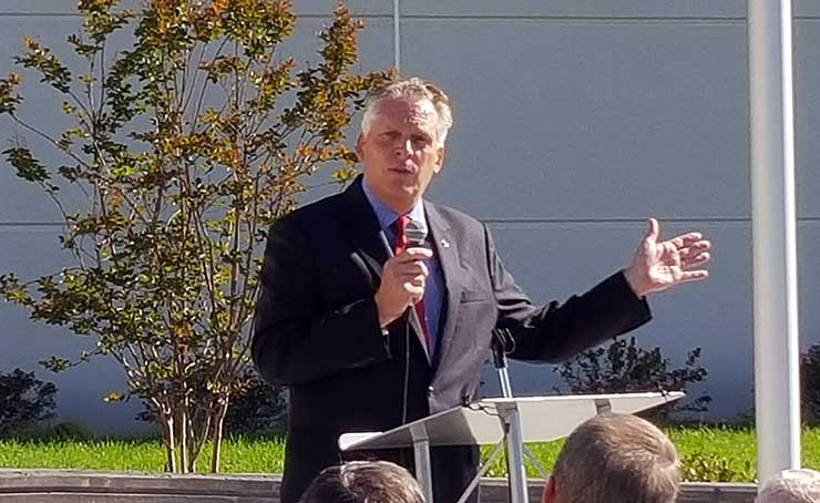 """I love data centers,"" says Virginia Governor Terry McAuliffe, speaking Friday at the opening of the new Iron Mountain campus in Manassas, Va. (Photo: Rich Miller)"