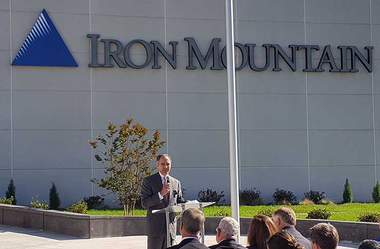 Iron Mountain CEO William Meaney speaks Friday at the opening of the company's VA-1 data center in Manassas, Virginia. (Photo: Rich Miller)