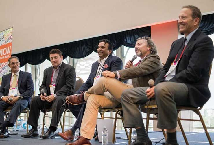 A panel on carrier hotels at a recent Bisnow DICE data center conference and expo. (Photo: Bisnow)