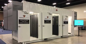 An EdgeMicro micro data center on display Wednesday at the Competitive Carriers Association (CCA) event in Fort Worth, Texas. (Photo: EdgeMicro)