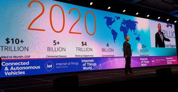 How much data will the Internet of Things generate? Lots of it, as we are reminded in this keynote slide from IoT World 2017. (Photo: Rich Miller)