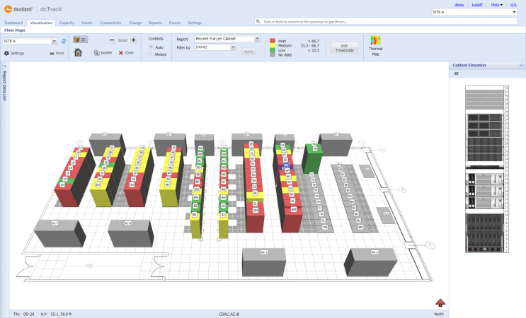 Sunbird data center layout visualization software