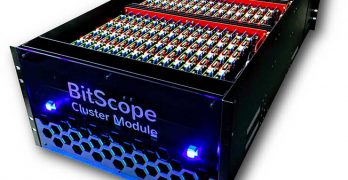 The BitScope Pi Cluster Modules system creates an affordable, scalable, highly parallel testbed for high-performance-computing system-software developers. The system comprises five rack-mounted BitScope Pi Cluster Modules consisting of 3,000 cores using Raspberry Pi ARM processor boards, fully integrated with network switching infrastructure. (Image:: BitScope)