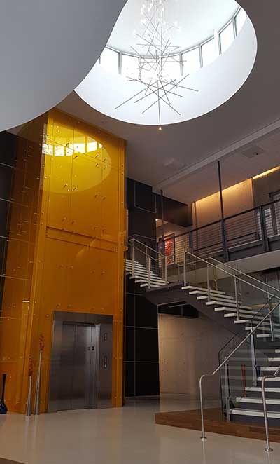 The distinctive atrium and lobby of the RagingWire TX1 data center in Garland, Texas. (Photo: Rich Miller)