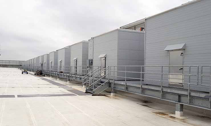 Some of the 74 Kyoto Cooling units mounted on the roof of the RagingWire TX1 data center in Garland, Texas. (Photo: Rich Miller)