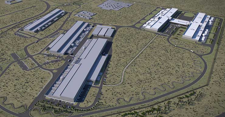 An illustration of the expanded Prineville campus once data centers four and five (at upper right) are completed. (Image: Facebook)