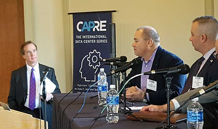 Talking data center growth at the CAPRE 2018 Forecast in Ashburn. From left tor right: (Jim Leach of RagingWire, Vantage's Lee Kestler and Stuart Dyer of CyrusOne. (Photo: Rich Miller)