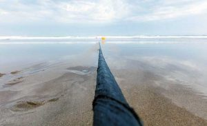 The MAREA subsea cable emerges from the Atlantic at Virginia Beach, Virginia. (Photo: Microsoft)