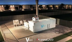 An illustration of a Vaor IO data center module with a docking station for a Hangar drone system on top of the module. (Image: Vapor IO)