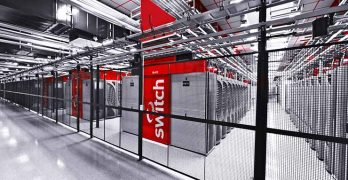 Rows of custom containment systems inside a Switch data center. (Image: Switch)